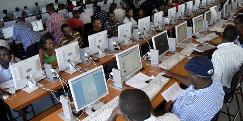 Makerere University students practice in one of the computer labs at the Faculty  Information and Communications Technology, Feb.19, 2009.                                     Photo by Kennedy Oryema